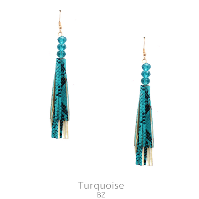 Teal Snakeskin Tassel Earrings