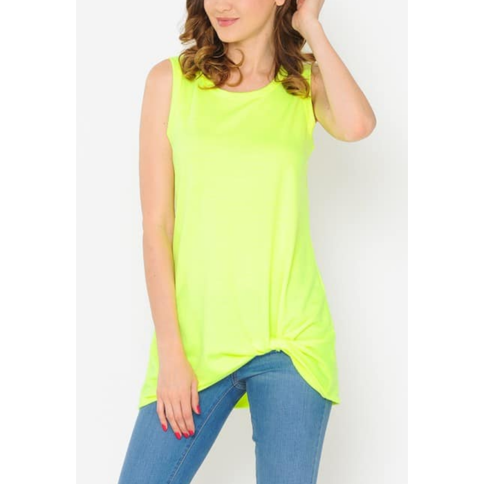 Neon Yellow Twist Front Tank