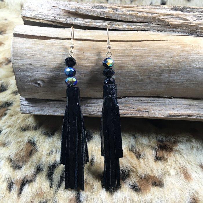 Black Snakeskin Tassel Earrings