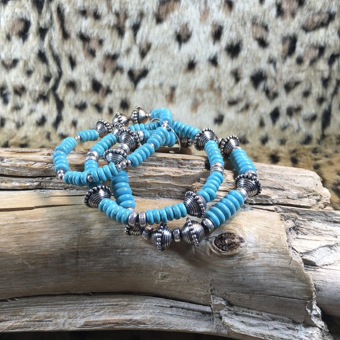 Silver Turquoise 3 pc Beaded Bracelet Set