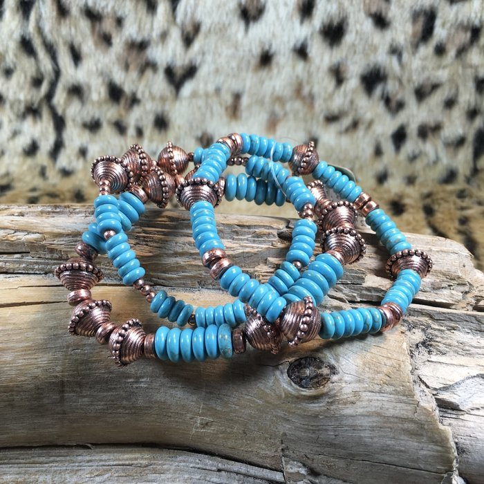 Copper Turquoise 3 pc Beaded Bracelet Set