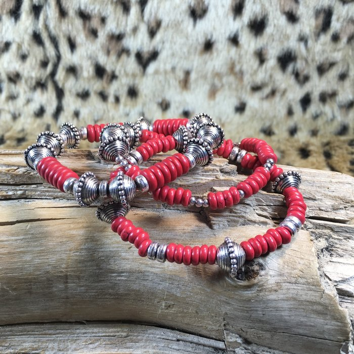 Silver Red 3 pc Beaded Bracelet Set