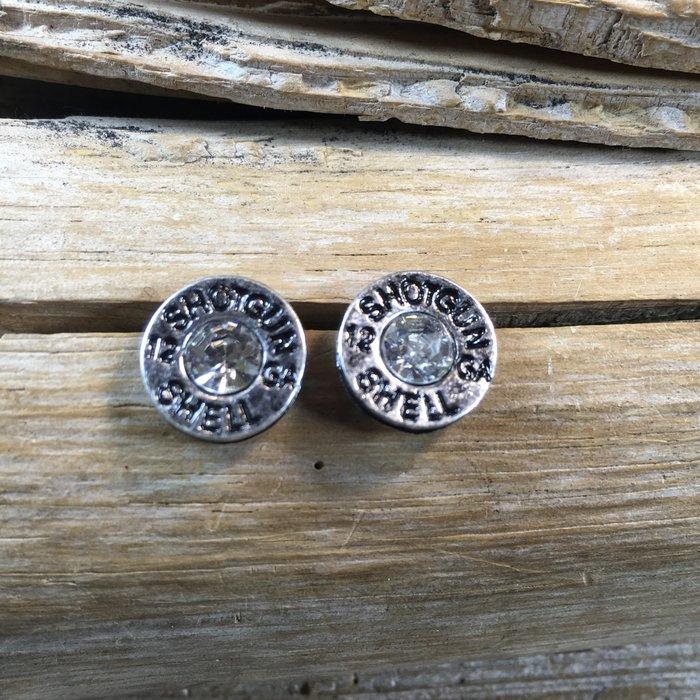 Silver 12 Gauge Shot Gun Shell AB Stud Earrings