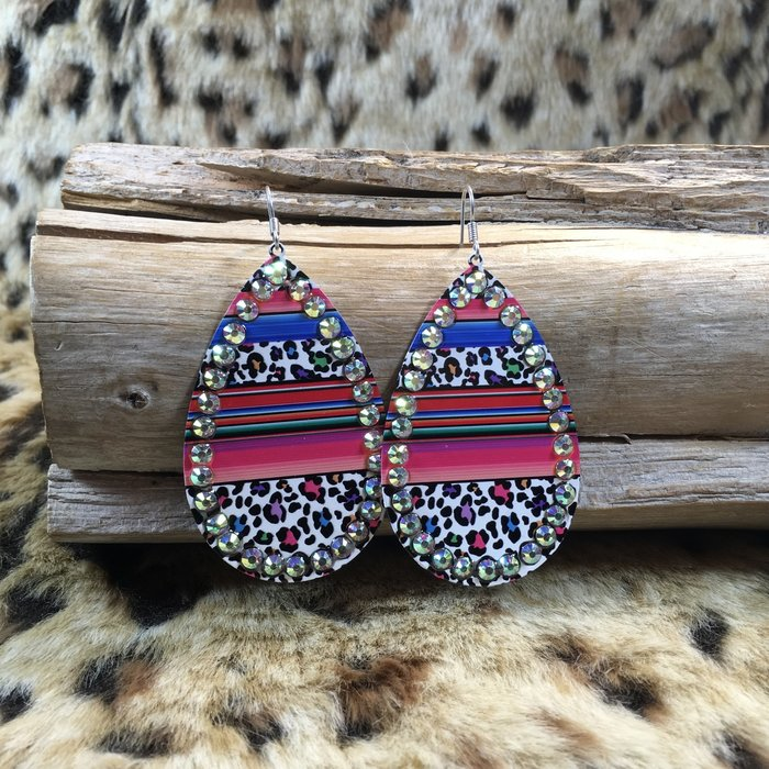 Serape Multi Leopard AB Teardrop Earrings