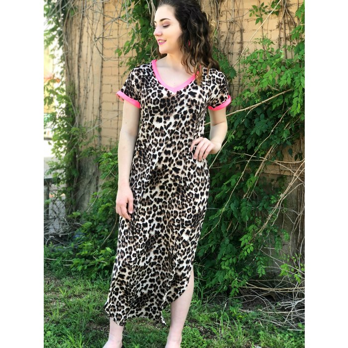 Neon Pink Neck Leopard Print Maxi Dress