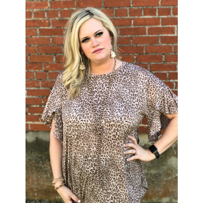 Antique Leopard Ruffle Sleeve Top