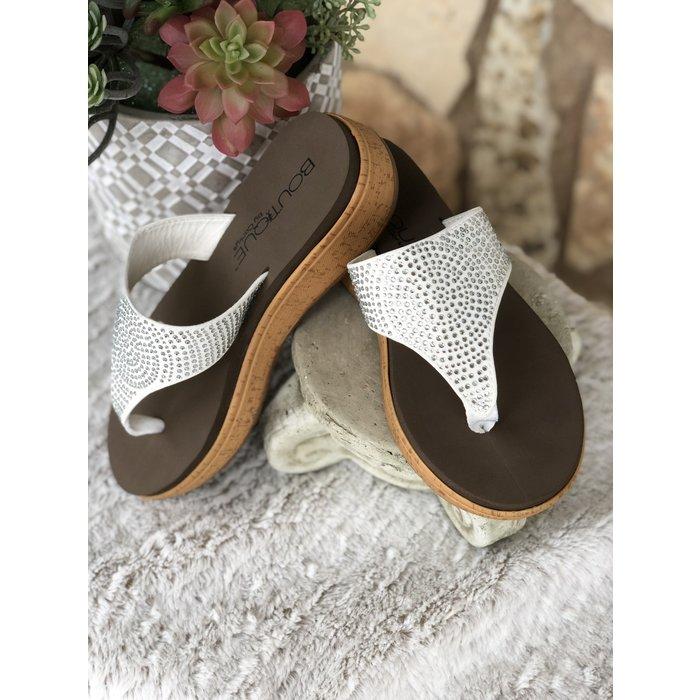 Rowley - White & Silver Flip Flops