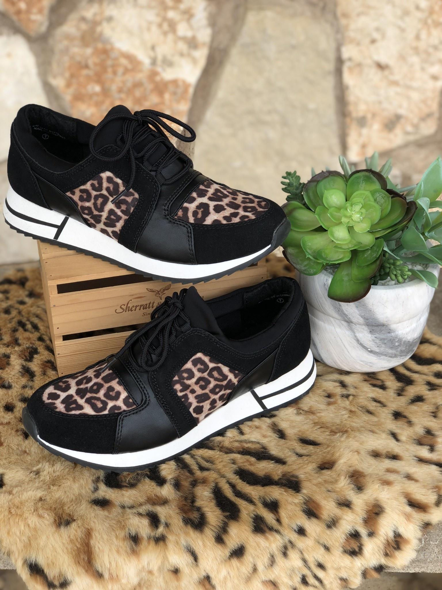 4c8396cb7dc5 Black & Leopard Range Tennis Shoes - TheBlingBoxOnline.com