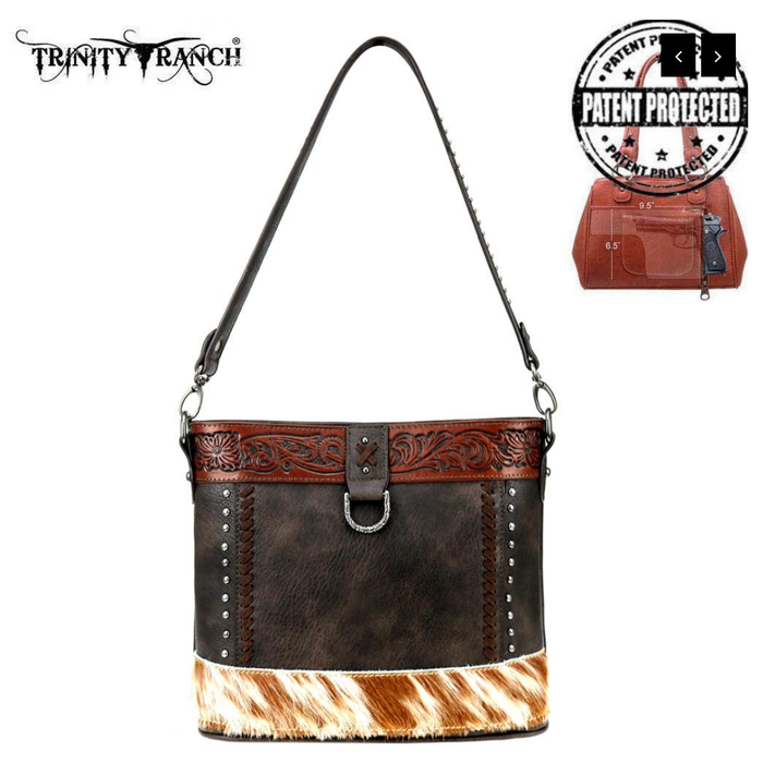 Trinity Ranch Hair-On Leather Concealed Carry Hobo/Crossbody