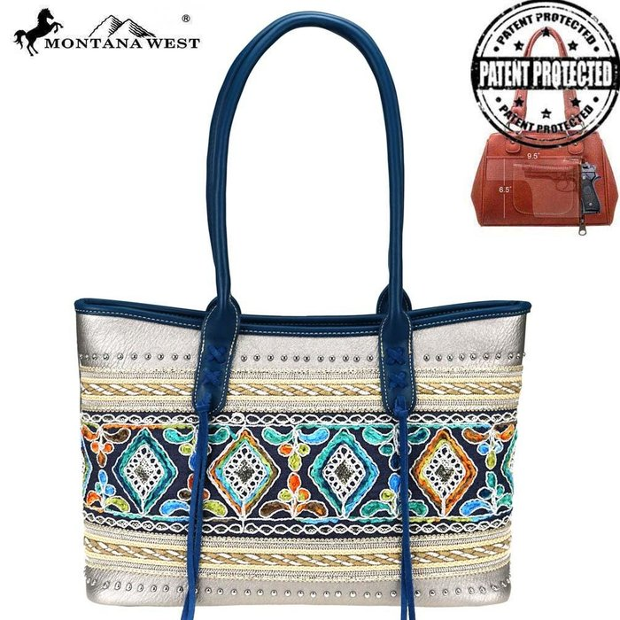 Silver Multi Color Embroidered Studded Concealed Carry Tote