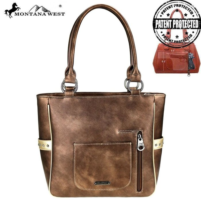 Bronze Embroidered Floral Cut Out Concealed Carry Tote