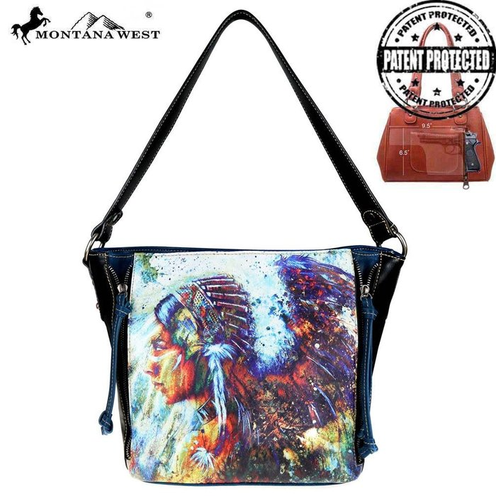 Black Aztec Indian Chief Concealed Carry Hobo Tote