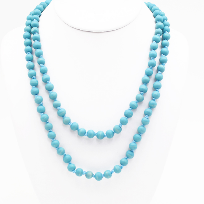 """Turquoise 60"""" Round Beaded Necklace"""