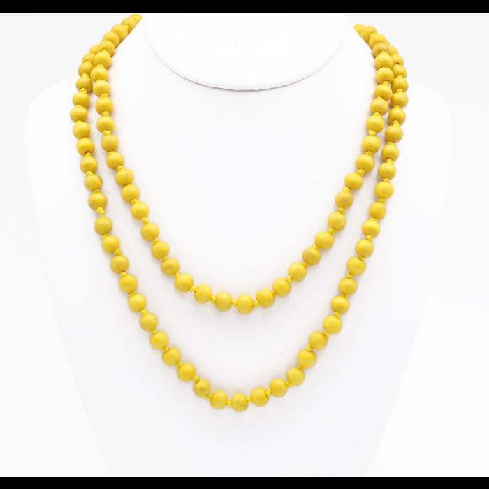 "Yellow 60"" Round Beaded Necklace"