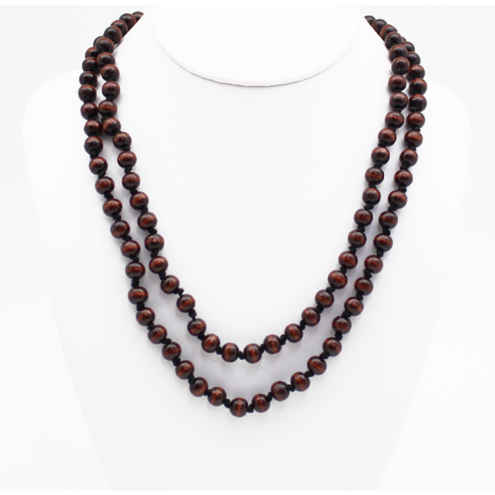 """Brown 60"""" Round Beaded Necklace"""