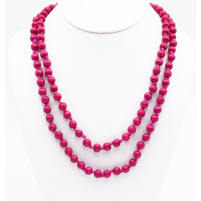 "Fuchsia 60"" Round Beaded Necklace"