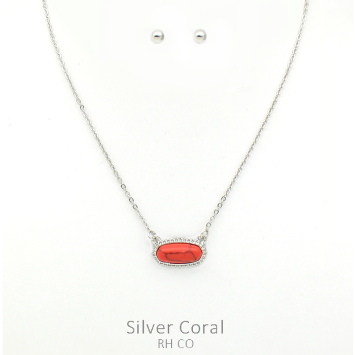 Mini Red Oval Stone Necklace