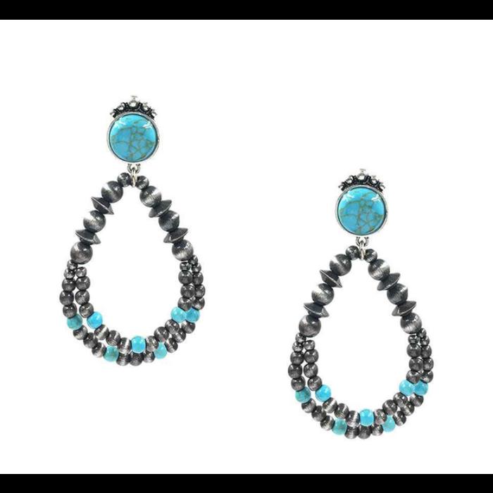 Turquoise Stone Silver Navajo Pearl Stud Earrings