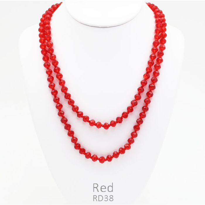 """Clear Red 60"""" Crystal Beaded Necklace"""
