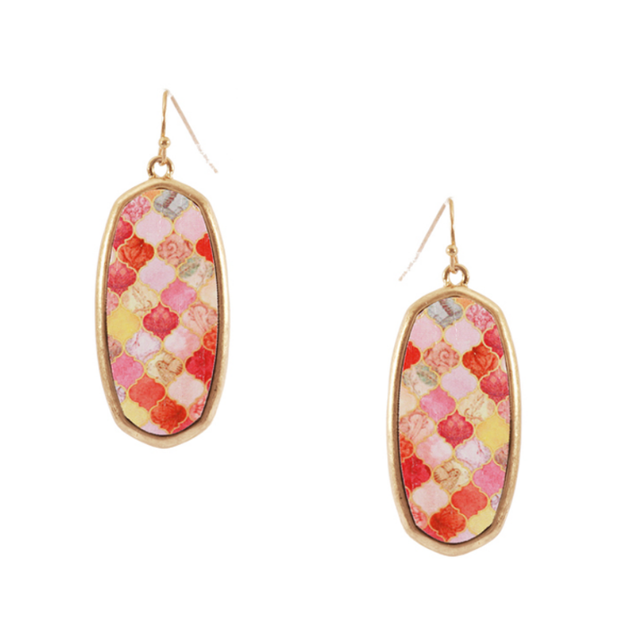 Washed Gold Peach Damask Earrings