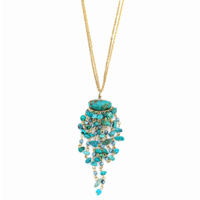 Turquoise Gemstone Tassel Two Strand Chain Necklace