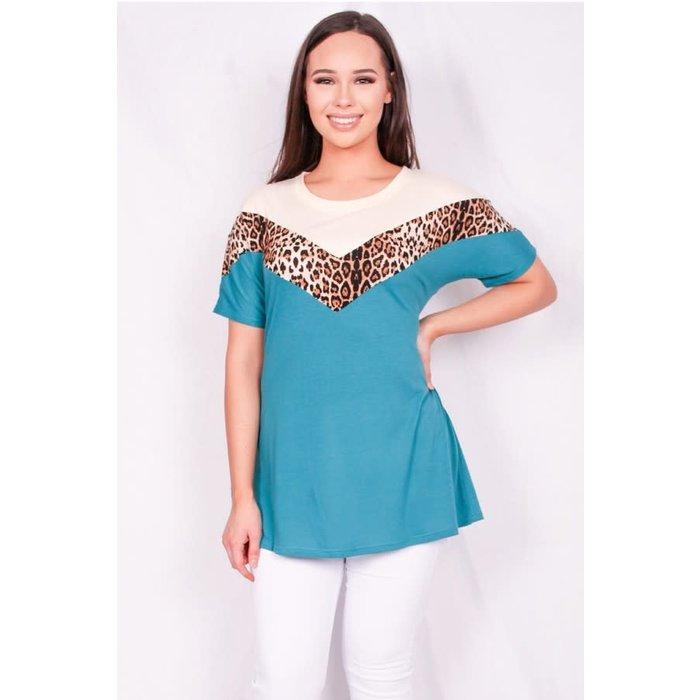 Turquoise V Leopard Color Block Top