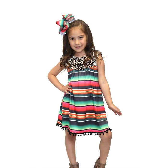 Kids Leopard & Serape Pom Pom Trim Dress