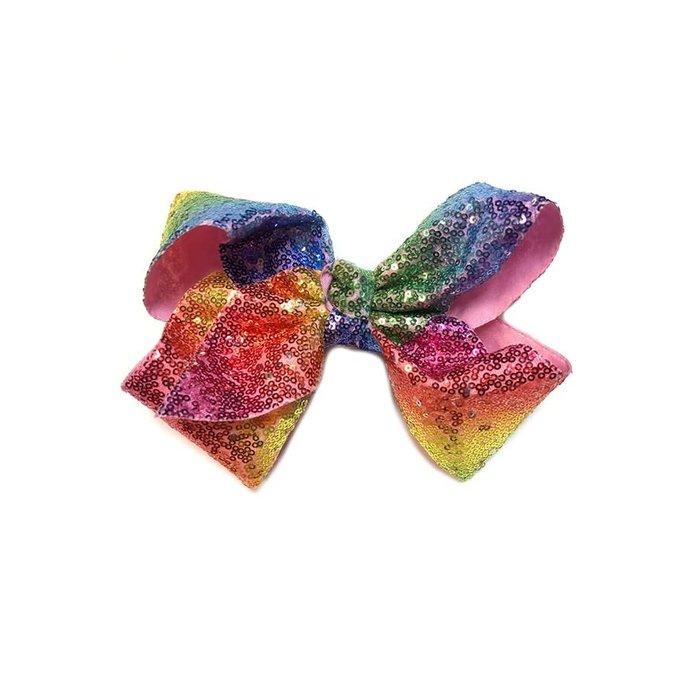 Rainbow Sequin Hair Bow