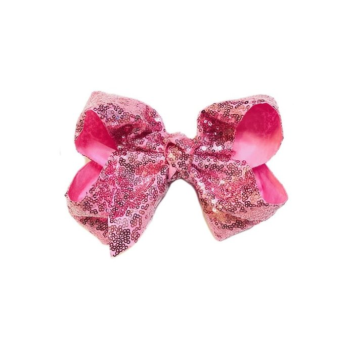 Rose Pink Sequin Hair Bow