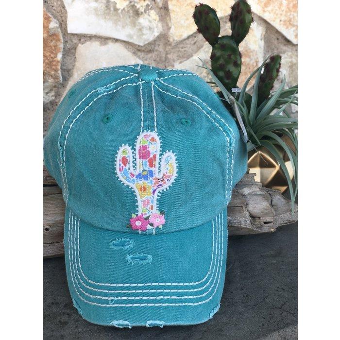 Turquoise Cactus Baseball Cap