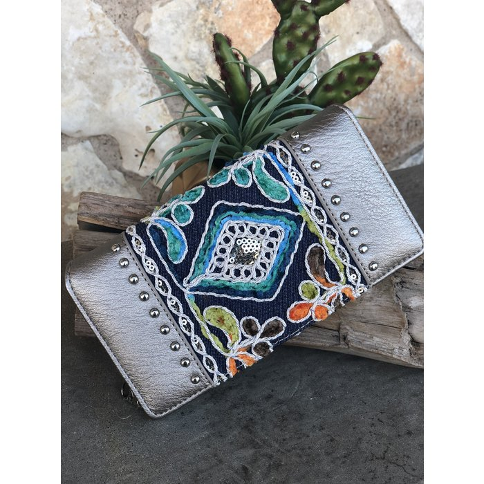 Silver Multi Color Embroidered Studded Wallet