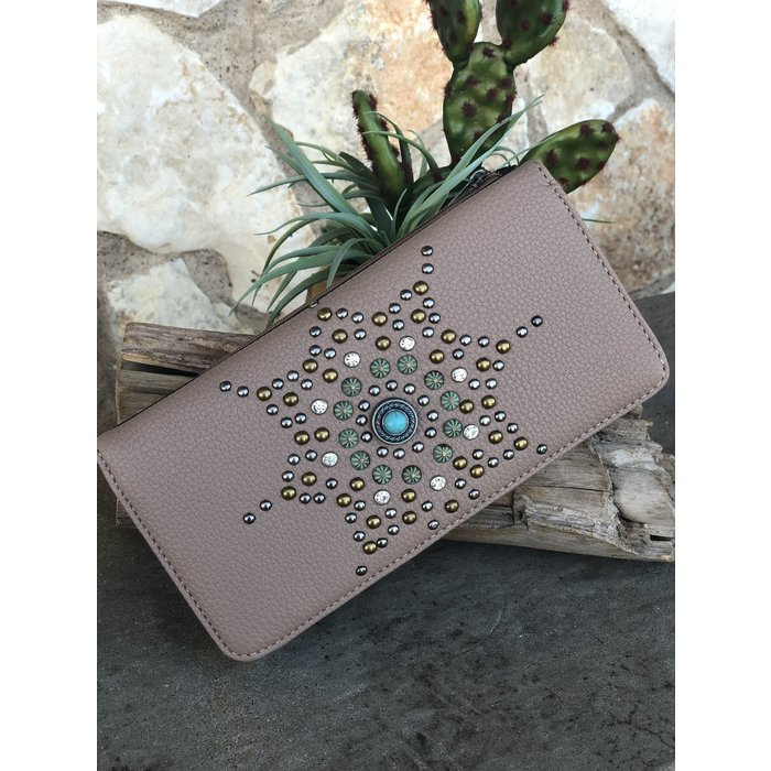 Taupe Aztec Sun Studded Wallet