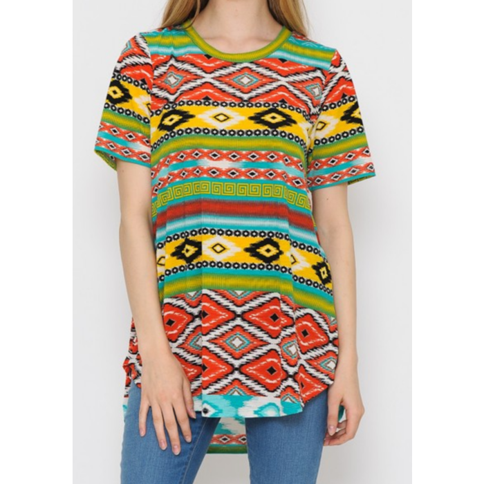 Mint Aztec Short Sleeve Tunic