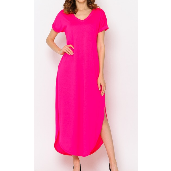 Hot Pink V-Neck Maxi Dress w/Pockets