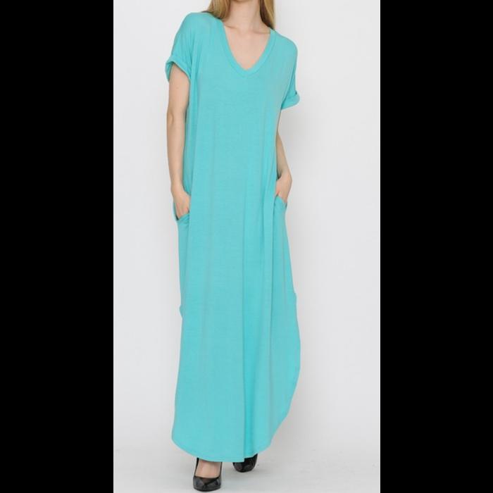 Mint V-Neck Maxi Dress w/Pockets