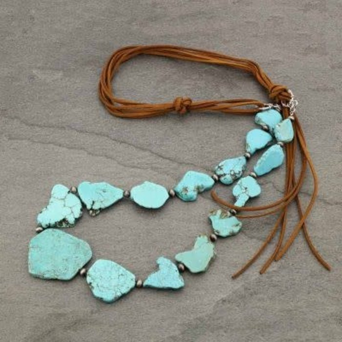 Brown Long Leather Turquoise Slab Necklace