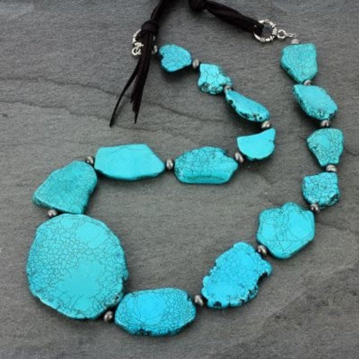 Chocolate Brown Long Leather Turquoise Slab Necklace