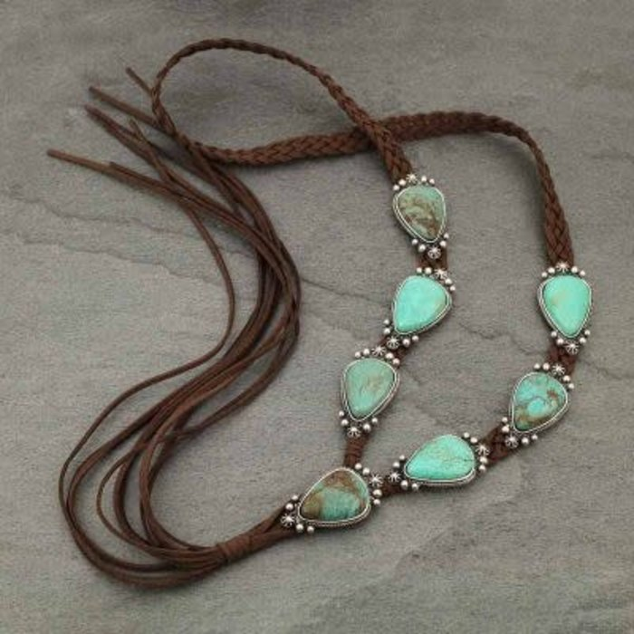 Long Turquoise Stone Suede Necklace