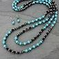 Black Crystal & Turquoise Beaded Necklace Set
