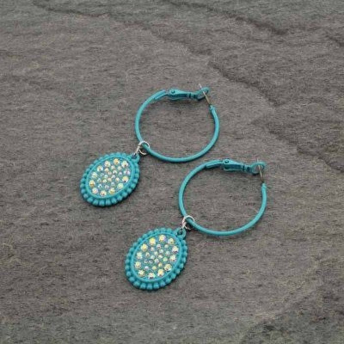 Turquoise AB Oval Hoop Earrings