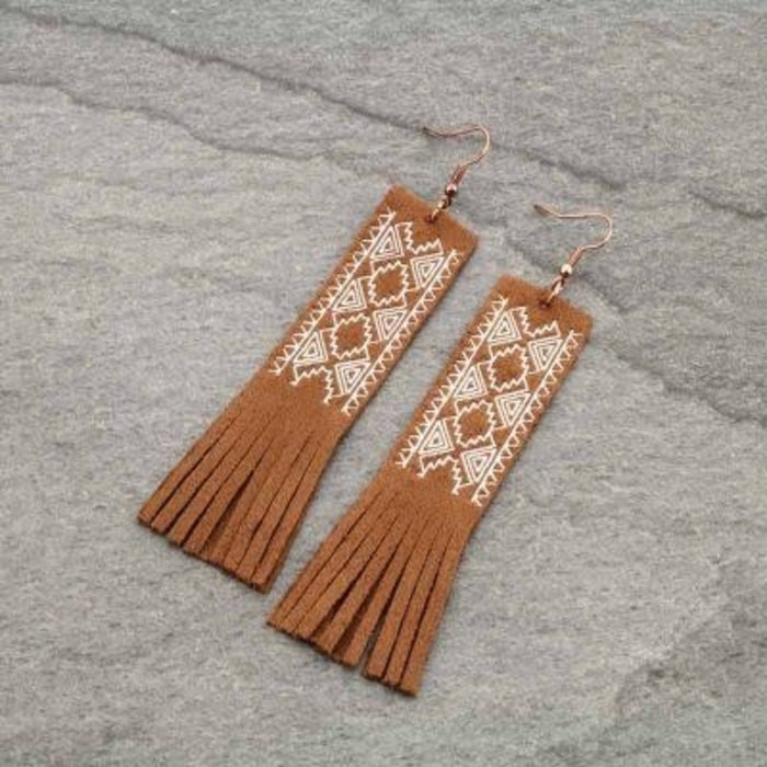 Brown Suede Long Southwest Fringe Earrings