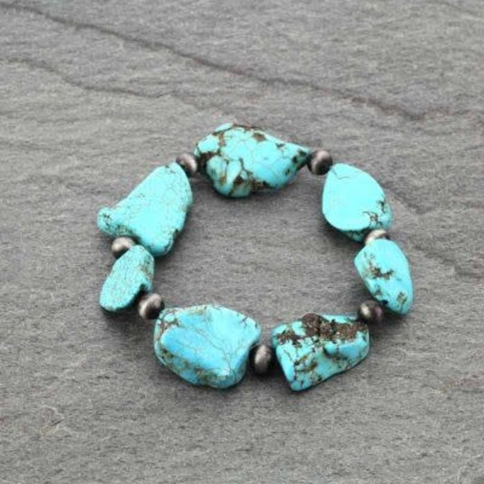 Turquoise Stone Slab Stretch Bracelet