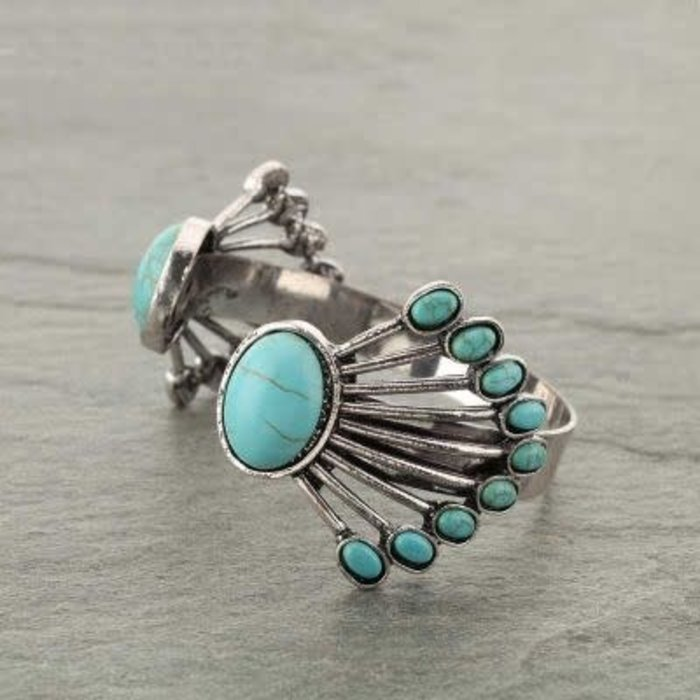 Turquoise & Silver Navajo Cuff Bracelet