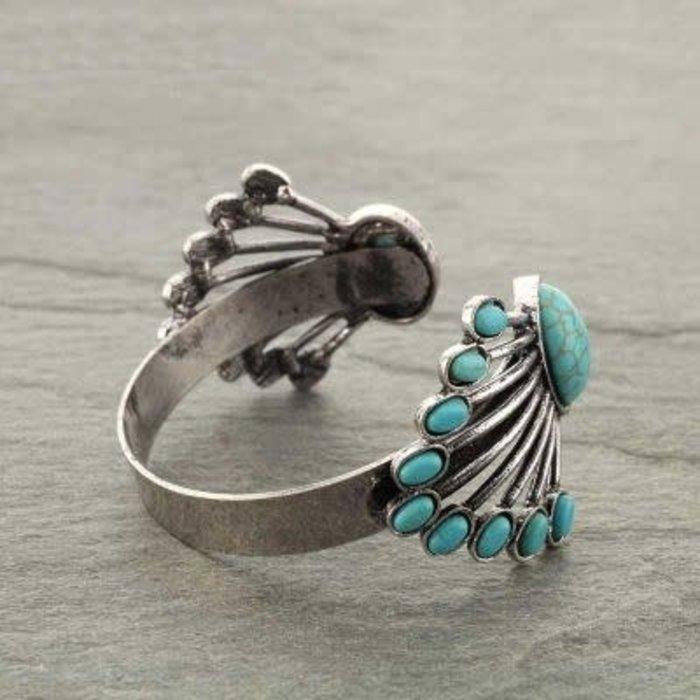 Turquoise & Silver Navajo Cuff Bracelet