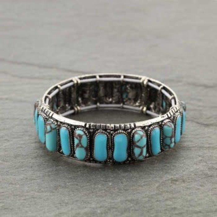 Turquoise Stone Western Style Stretch Bracelet