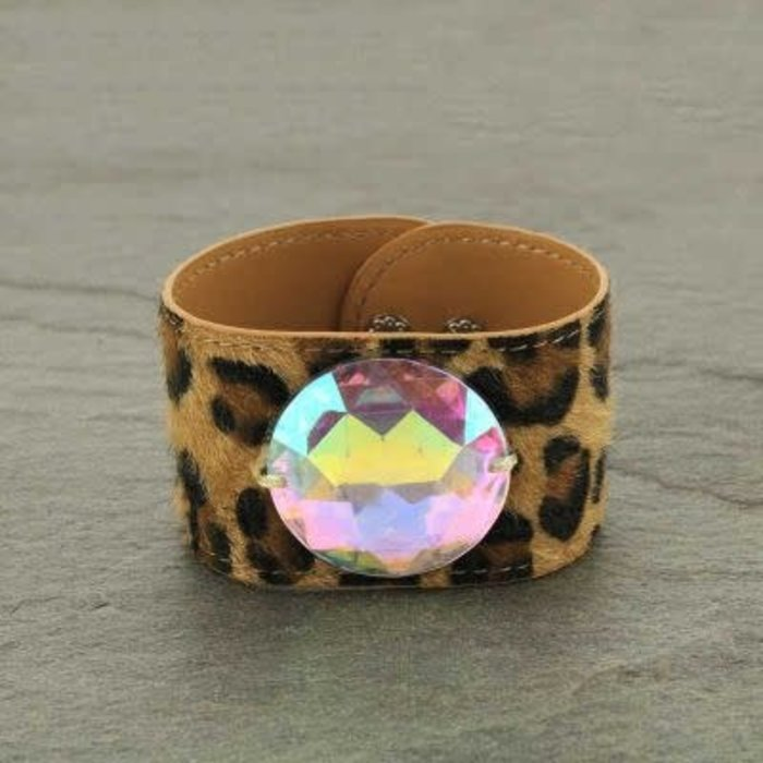Wide Leopard Leather AB Stone Snap Bracelet