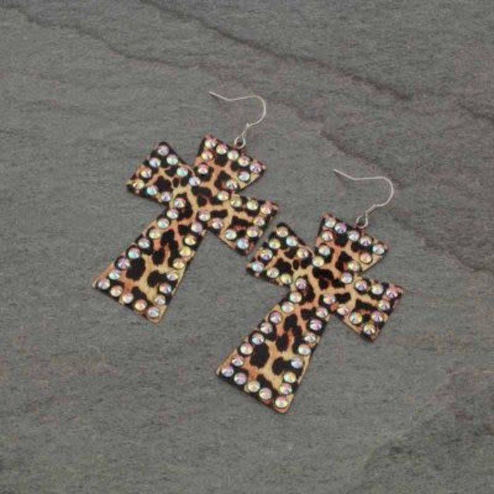 Leopard AB Metal Cross Earrings