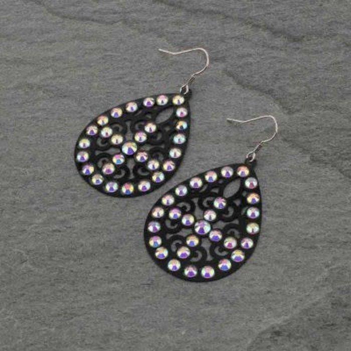 Black Filgree Teardrop AB Cross Earrings