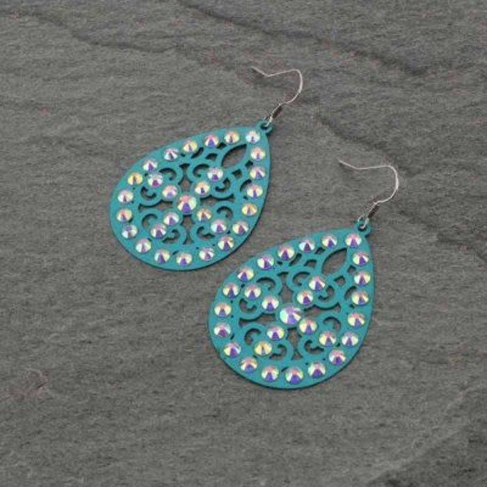 Turquoise Filgree Teardrop AB Cross Earrings