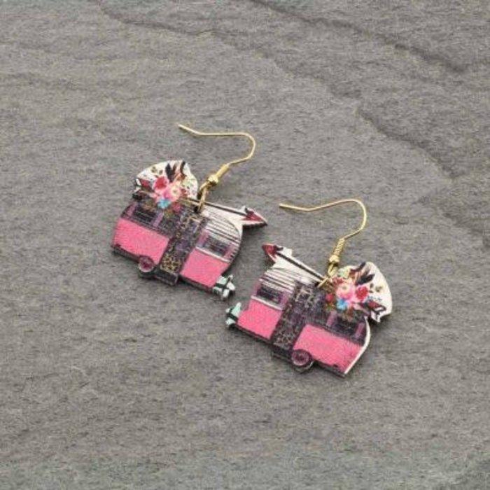 Wooden Camper Trailer Earrings